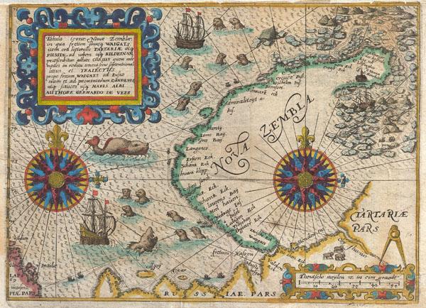 Tabula terrae Nouae Zemblae in qua fretum sinusq Waigats item ord littorialis Tartariae atq Russiae, ad urgem usq Kildeinam ….Authore Gerhardo De Veer.