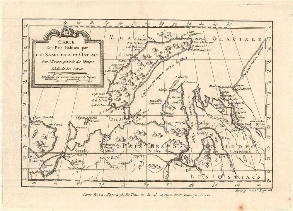 Carte Des Pais Habités par Les Samojedes et Ostiacs Pour l'Histoire Générale des Voyages. - Main View