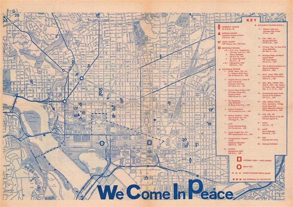 1969 National Mobilization March Anti-Vietnam War Map of Washington, D.C.