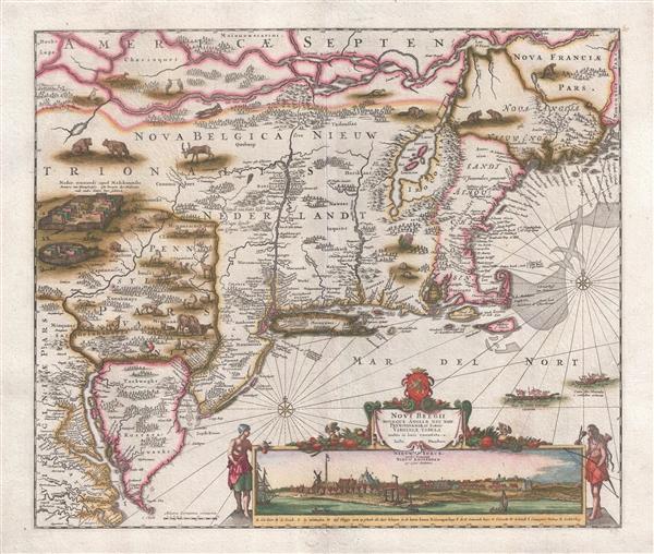 Novi Belgii Novaeque Angliae Nec Non Pennsylvaniae et Partis Virginiae Tabula multis in locis emendata.