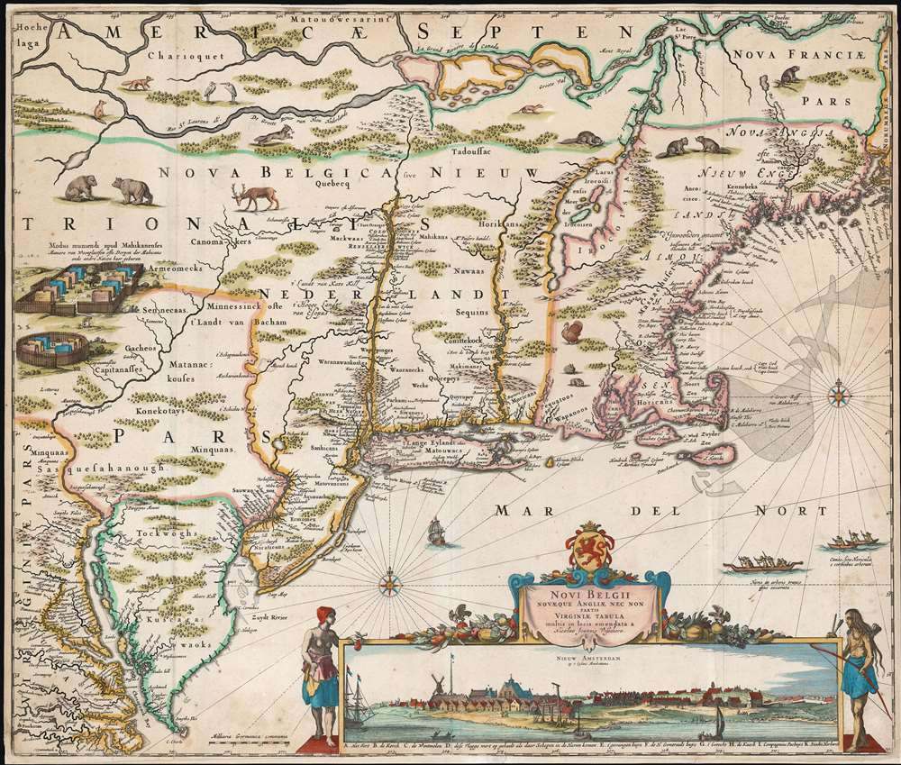 Novi Belgii Novaeque Angliae nec non Partis Virginiae Tabula multis in locis emendata a Nicolao Joannis Visschero. - Main View