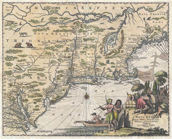 Novi Belgii quod nunc Novi Jorck vocatur, Novae Qe. Angliae & Partis Virginiae Accuratissima et Novissima Delineatio.