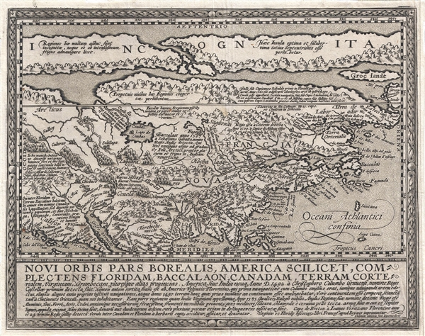 Novi Orbis Pars Borealis, America Scilicet, Complectens Floridam, Baccalaon, Canadam, Terram Corte . . . 1585.