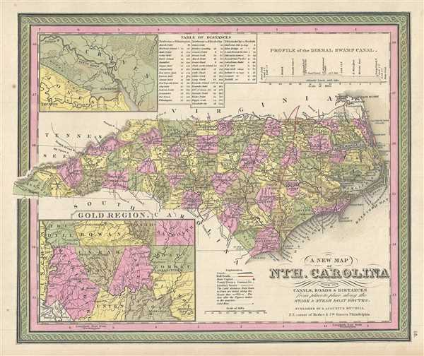 A New Map of Nth. Carolina with its Canals, Roads and Distances from place to place, along the Stage and Steam Boat Routes.