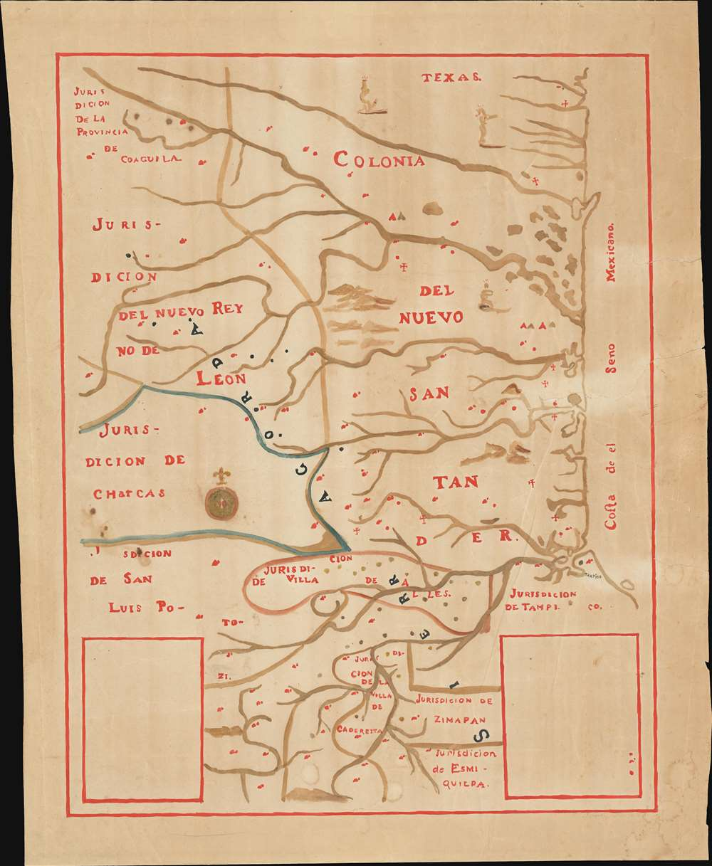 1929 Manuscript  Draft for a Lithograph of an 18th Century Manuscript Map of Nuevo Santander, Mexico