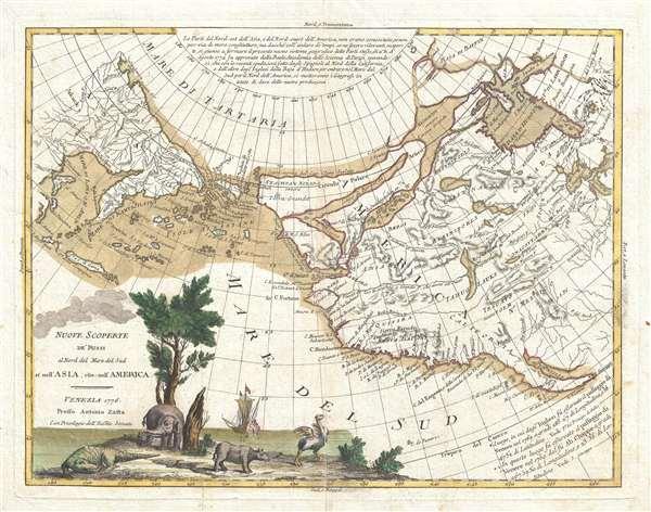 Nuove Scoperte De'Russi al Nord del Mare del Sud si nell'Asia, che nell'America - Main View