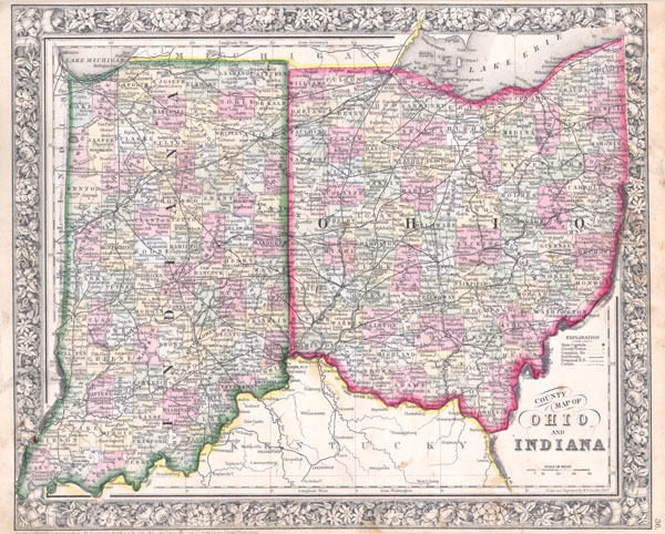Map Of Indiana And Ohio County map of Ohio and Indiana.: Geographicus Rare Antique Maps Map Of Indiana And Ohio