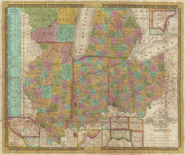 Map of the States of Ohio, Indiana, and Illinois with the settled ...