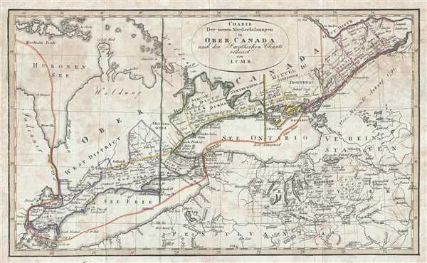 Charte Der neuen Niederlassungen in Ober Canada nach der Smythchen Charte reducirt von I.C.M.R.