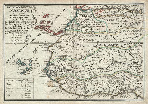 Partie Occidentale D'Afrique ou se trouve les Isles Canaries, et du Cap Ver dans la Mer Atlantique les Etats du Roy de Maroc, des Royaumes d'Alger et de Tunis, de Biledulgerid, et le Saara, en Barbarie, La Nigritie, et la Guinee.