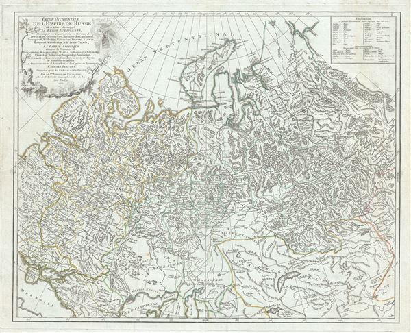 Partie Occidentale de l'Empire de Russie, ou se trouve distinguee la Russie Europeenne, Divisee par ses Gouvernemens ou Provinces de Dwinskoy, Oloueckoy, Bielozerskoy, Archangel, Nowogrod, Wolockoy, Ustinskoy, Moscow, Kiowie, Bielogorod, Woroneskoy, et la Petite Tartarie, la Partie Asiatique Contient les Provinces Berezowskoy, Mangajeiskoy, Wiatka, Solkamskoy, Pelymskoy, Utimskoy, Tobolskoy, Surgutskoy, Jenifeiskoy, Narimskoy, Kuzneckoy, Tomskoy, Krasnojarskoy etc. le Royaume de Kasan, le Gouvernement d'Astrachan et les Confins du Royaume des Kalmaks Eleuths. Dressee d'apres les Cartes de l'Atlas Russien.