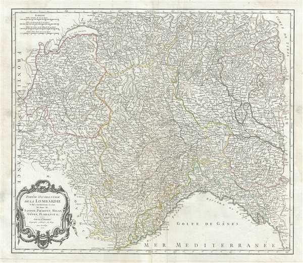 Partie Occidentale de la Lombardie et pays circonvoisins, ou sont les Etats de Savoye, Piemont, Milan, Genes, Plaisance etc.