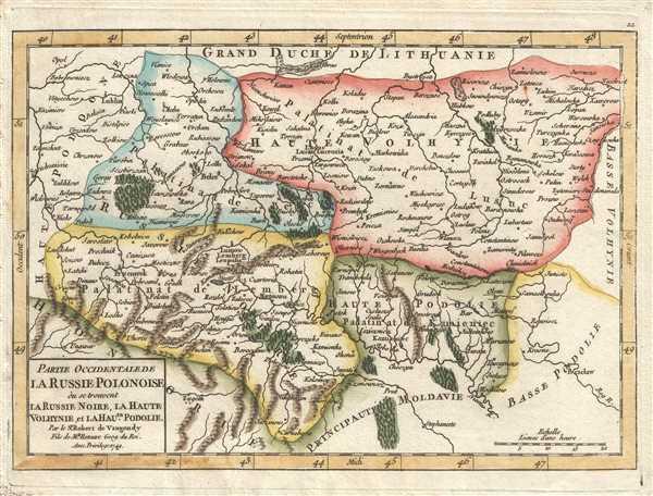 Partie Occidentale de la Russie Polonoise où se trouve la Russie Noire, la Haute Volhynie, et la Haute Podolie. Par le Sr. Robert de Vaugondy, Fils de Mr. Robert Geog. du Roi.