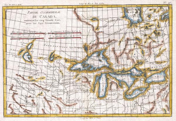 Partie Occidentale Du Canada, Contenant Les Cinq Grands Lac, Avec Les Pays Criconvoisins