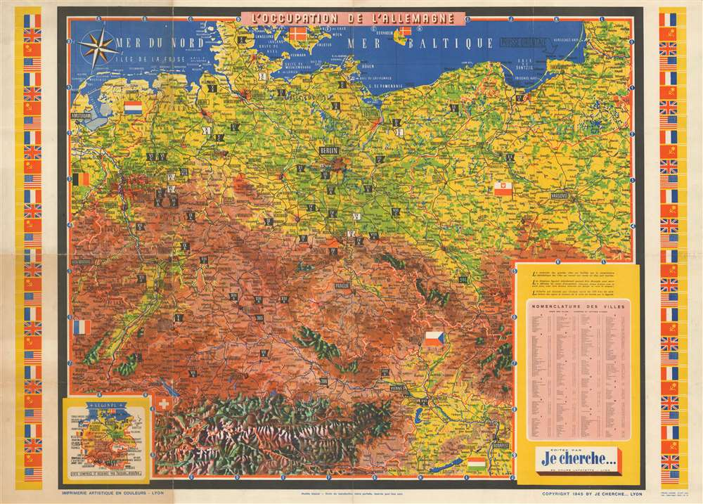 1945 Je Cherche and Jacques Mercier Map of Occupied Germany After World War II