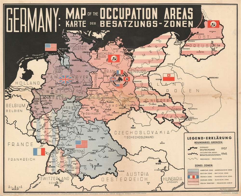 Germany: Map of the Occupied Areas. Karte der Besatzungs-Zonen. - Main View