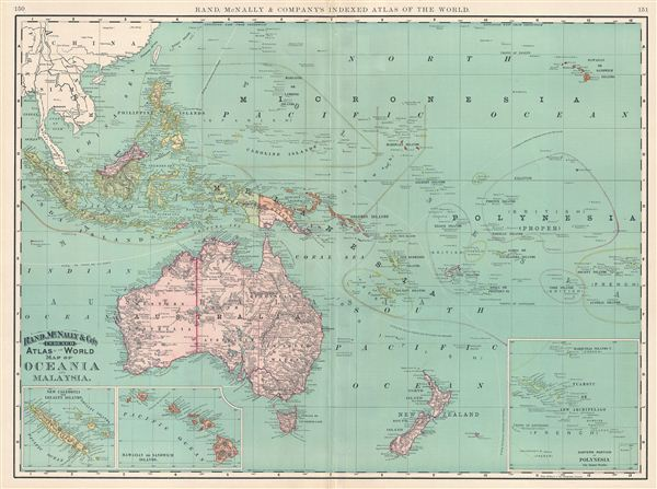Map of Oceania and Malaysia.