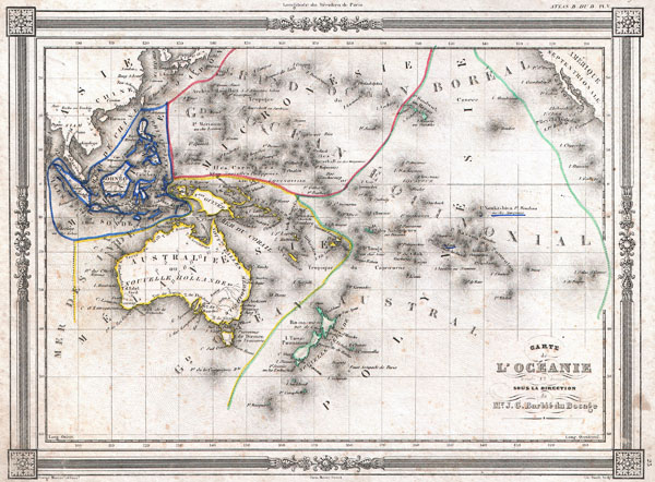 1852 Bocage Map of Australia and Polynesia