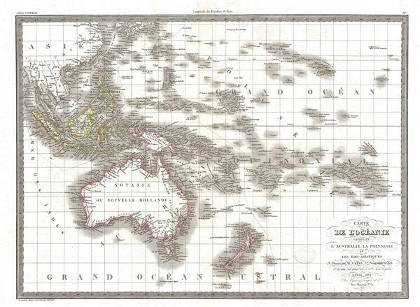 Carte de L'Oceanie contenant L'Australie, La Polynesie et Les Iles Asiatiques.