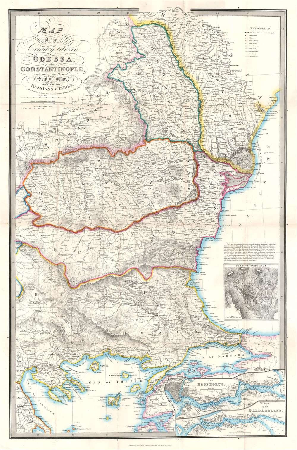 Map of the Country between Odessa and Constantinople, embracing the Present Seat of War between the Russians and Turks. - Main View