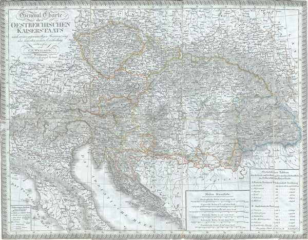 General Charte des Oestreichischen Kaiserstaats nach seiner gegenwaertigen Begraenzung und neuesten innern Eintheilung.