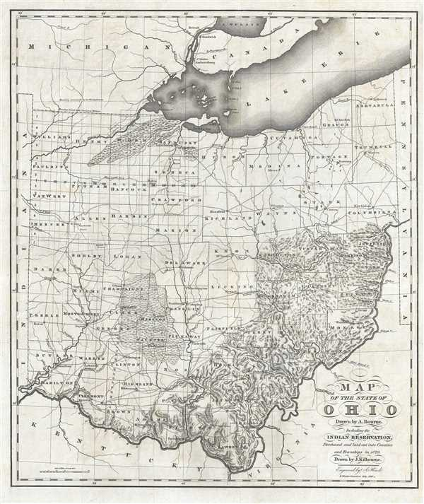 Map of the State of Ohio Drawn by A. Bourne.  Including the Indian Reservation, Purchased and laid out Counties and Townships in 1820.