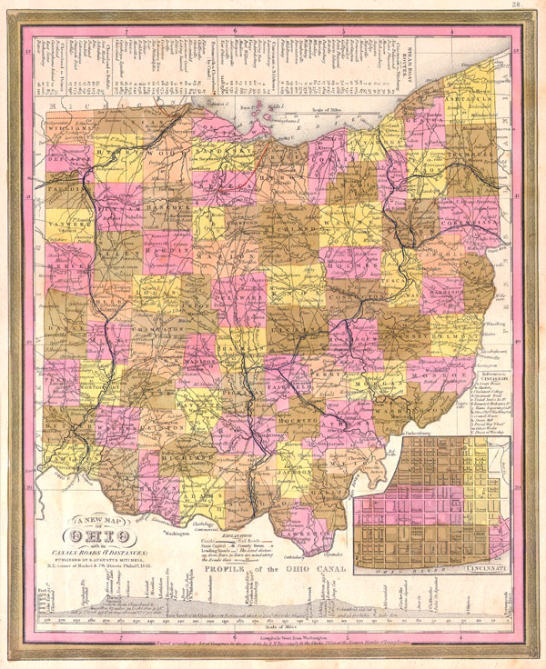 A New Map of Ohio with its Canals, Roads & Distances. - Main View