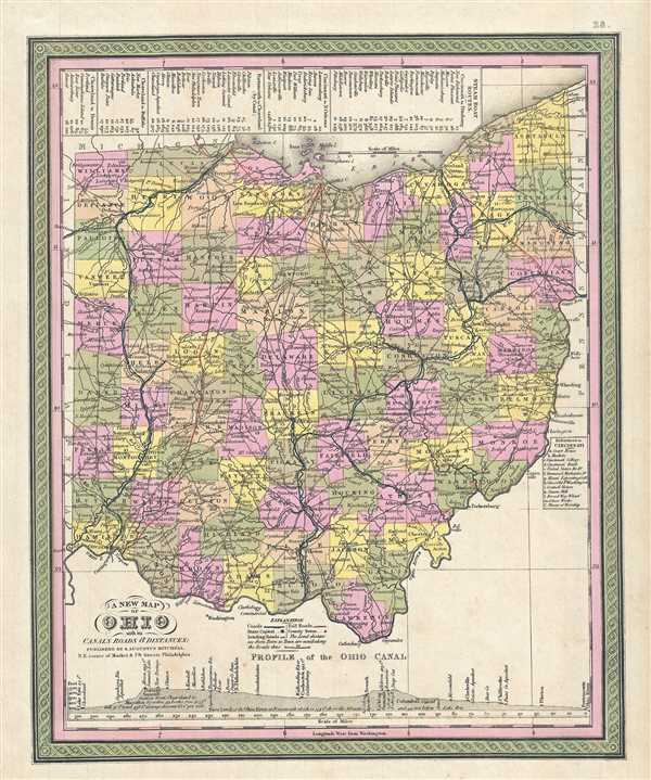 A New Map of Ohio with its Canals, Roads & Distances.