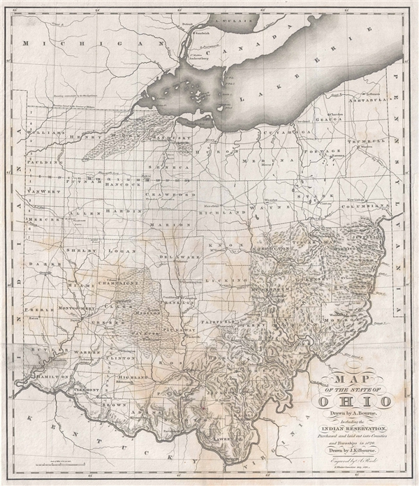Map of the State of Ohio Drawn by A. Bourne. Including the Indian ...