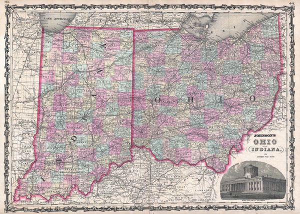 Johnson's Ohio and Indiana, by Johnson and Ward. - Main View