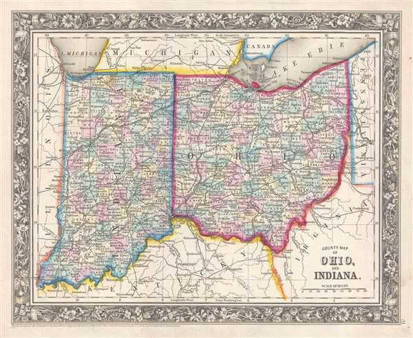 1861 Mitchell Map of Ohio and Indiana