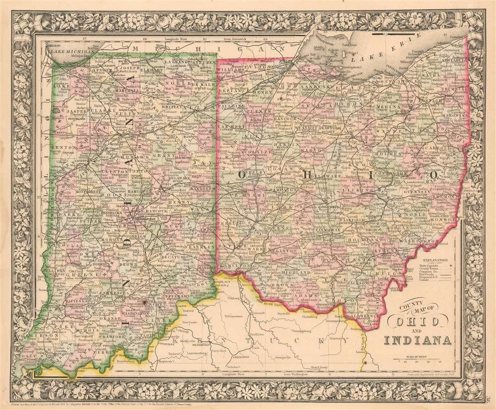 County Map of Ohio and Indiana. - Main View