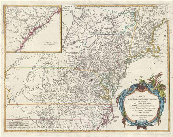 Partie de l'Amerique Septentrionale, qui comprend le Cours de l'Ohio, la Nlle. Angleterre, la Nlle. York, le New Jersey, la Pensylvanie, le Maryland, la Virginie, la Caroline.