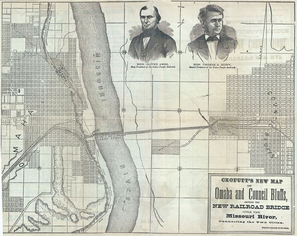 Crofutt's New Map of Omaha and Council Bluffs, showing the New Railroad Bridge over the Missouri River, Connecting the Two Cotoes. - Main View