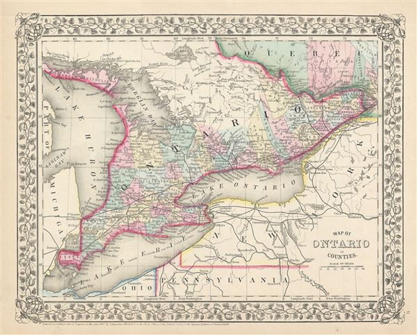 Map of Ontario in Counties Geographicus Rare Antique Maps