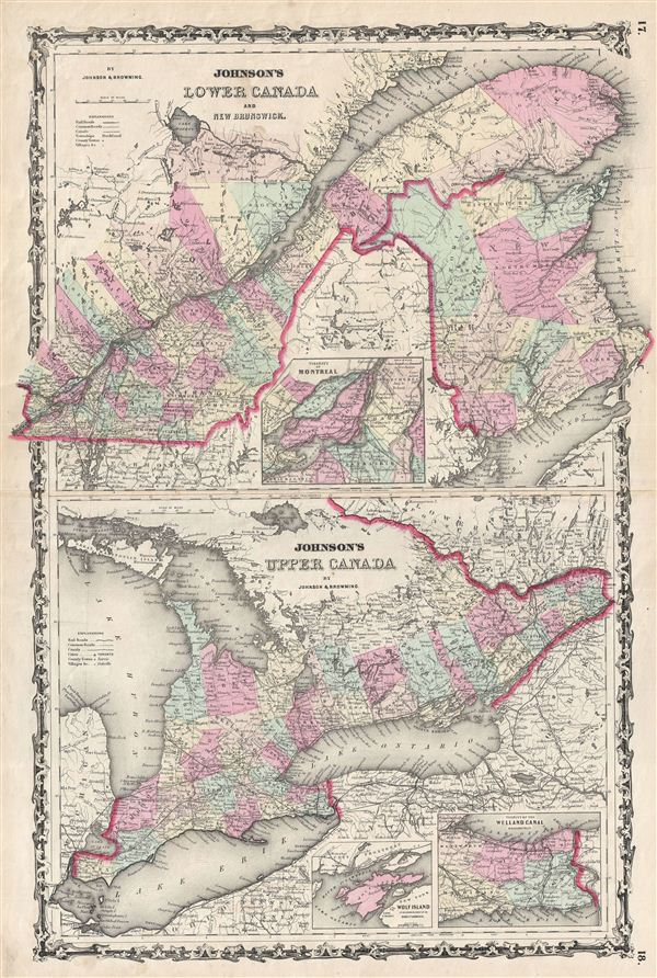 Johnson's Lower Canada and New Brunswick.  Johnson's Upper Canada.
