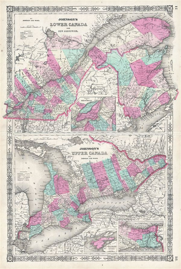 Johnson's Lower Canada And New Brunswick.  Johnson's Upper Canada. - Main View