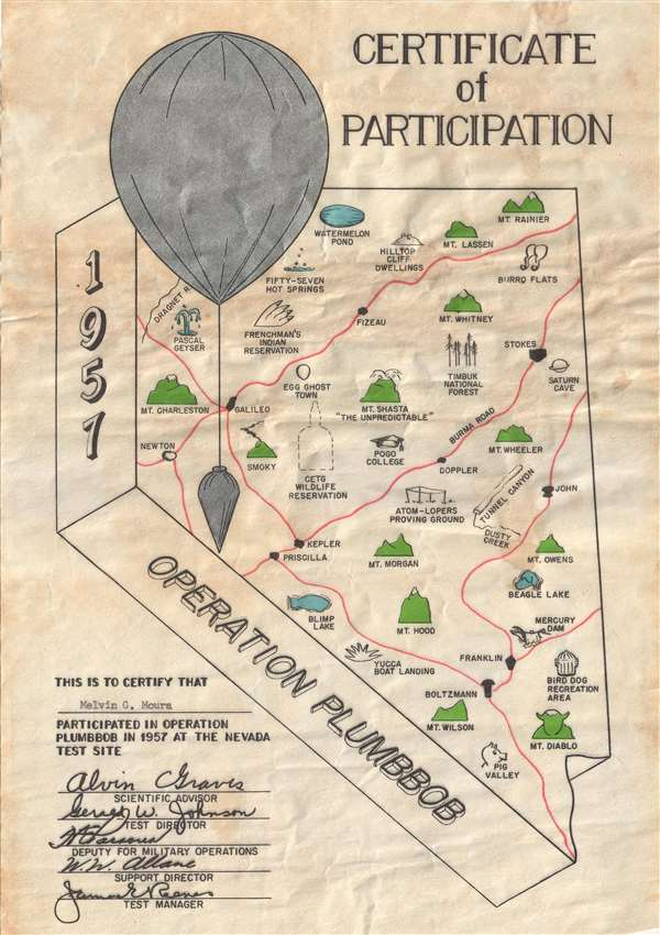 1957 Operation Plumbbob Certificate of Participation. - Main View