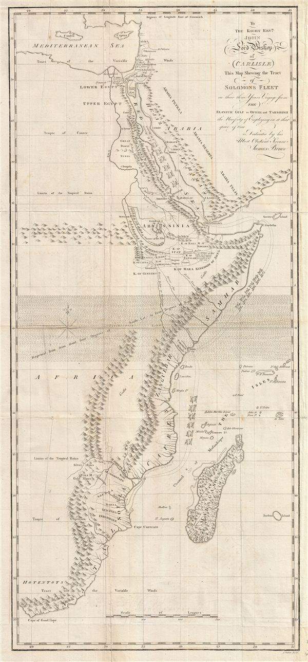 To the Right Revd. John Lord Bishop of Carlisle This Map Shewing the Tract of Solomons Fleet in thir three Years Voyage from the Elantic Gulf to Ophir and Tarshish the Necessity of Empolying in it that space of time is Dedicated by his Most Obedient Servent James Bruce. - Main View
