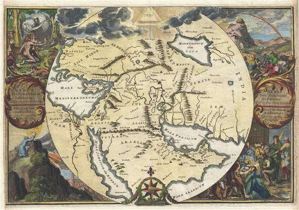 Orbis Per Creationem Institutus. / Orbis Per Diluvium De Stitutus. /Per Legem Constitutus. / Per Christum Restitutus.