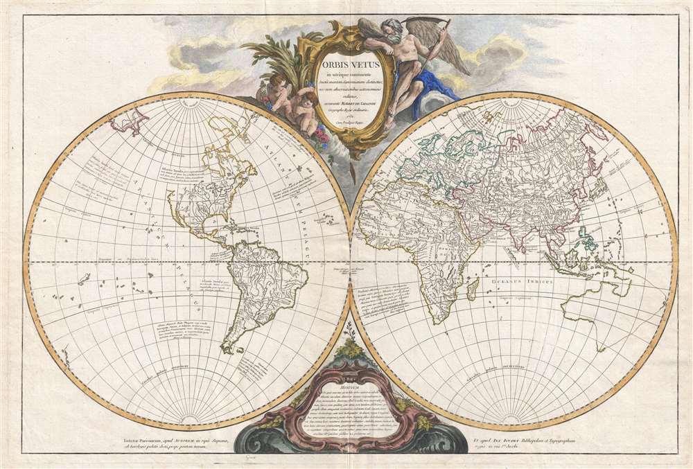 1752 Vaugondy Map of the Ancient World in Hemispheres