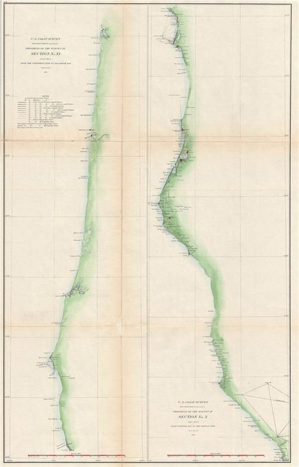 Progress of the Survey in Section No. XI (Lower Sheet) From the California Line to Tillamook Bay. /  Progress of the Survey in Section No. X (Upper Sheet)  From Tomales Bay to the Oregon Line. - Main View