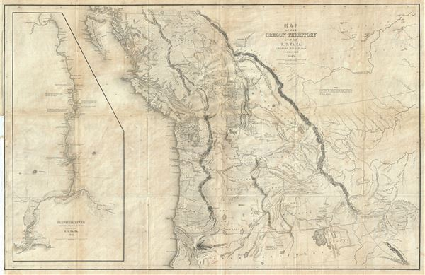Map Of The Oregon Territory By The Us Ex Ex Geographicus Rare - Us-road-maps-for-sale