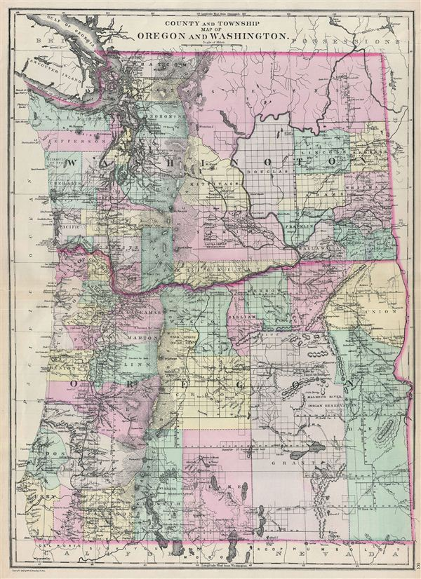 County and Township Map of Oregon and Washington.
