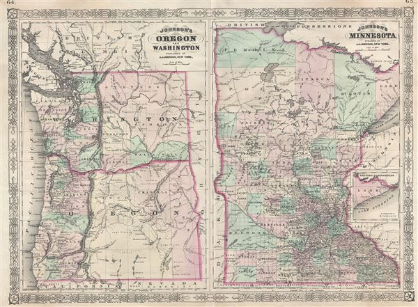 Johnson's Oregon and Washington.  Johnson's Minnesota. - Main View