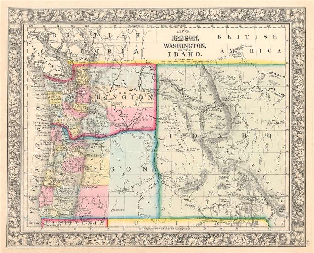 Map of Oregon, Washington, and Part of Idaho.