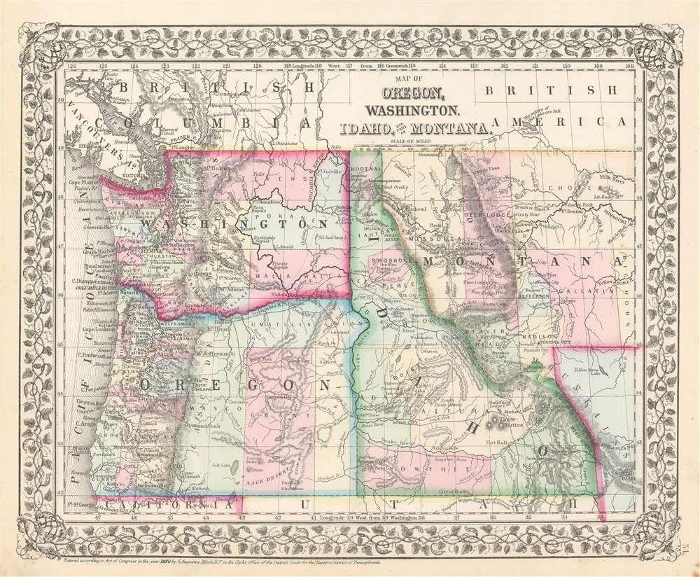 washington idaho montana map Map Of Oregon Washington Idaho And Part Of Montana washington idaho montana map