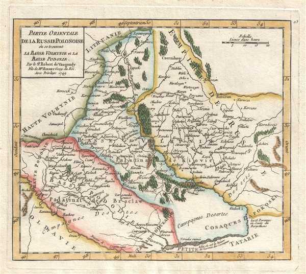 Partie Orientale de la Russie Polonoise où se trouvent la Basse Volhynie et la Basse Podolie. Par le Sr. Robert de Vaugondy Fils de Mr. Robert Geog. du Roi.