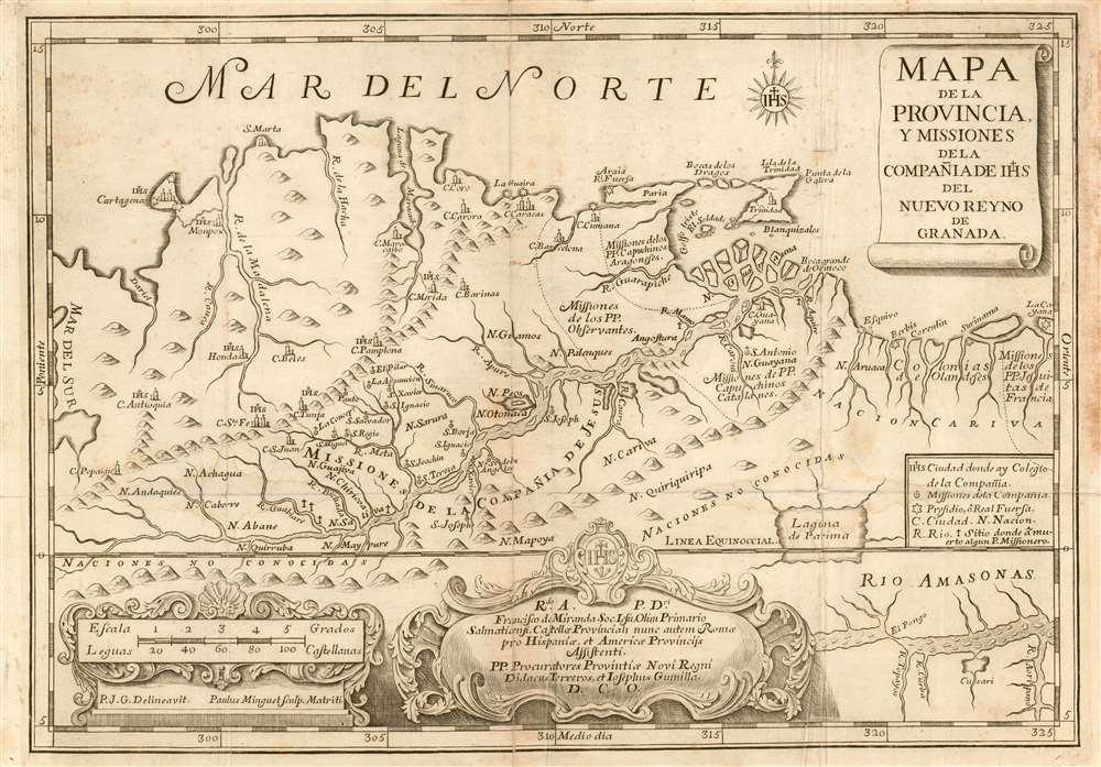 Mapa de la provincia y missiones de la compañia de IHJ del Nuevo Reyno de Granada - Main View