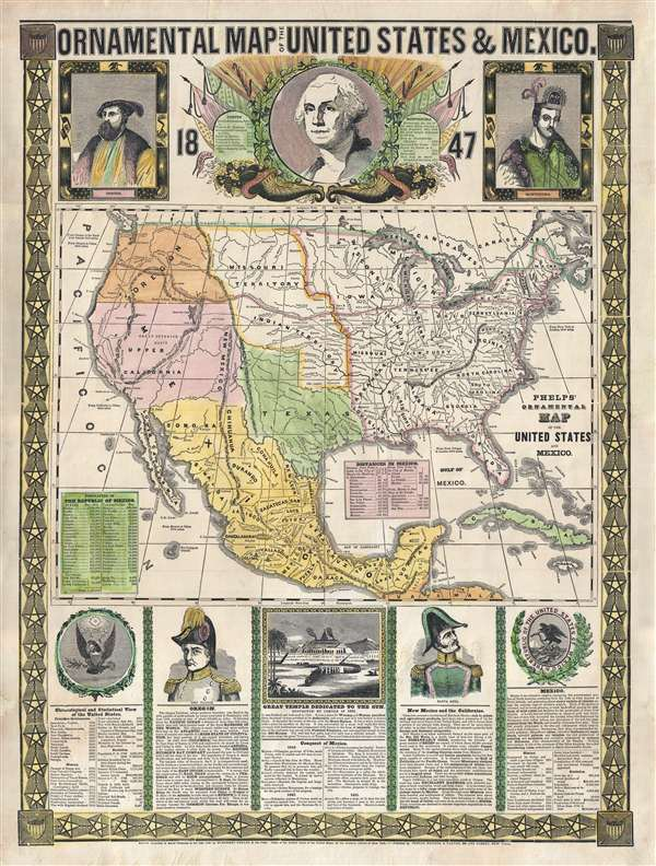 Ornamental Map of The United States and Mexico 1847 – Map United States and Mexico